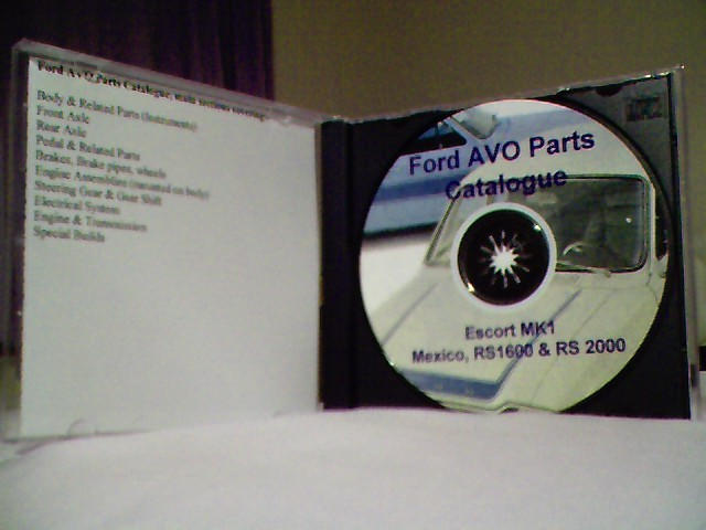 Ford AVO Parts Catalogue Mexico, RS1600 & RS2000 on CD